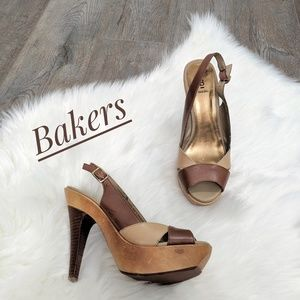 BAKERS Farah Leather Peep toe Platform Shoes